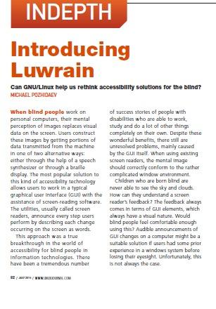 Страница журнала Linux Journal со статьёй о LUWRAIN
